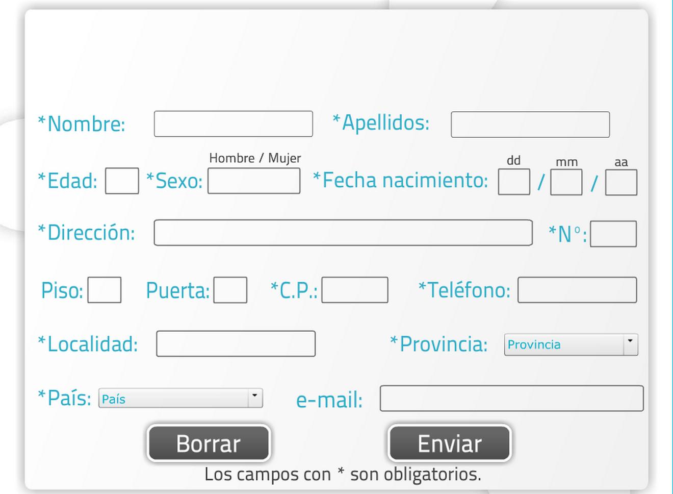 ejercicio de neuorrehabilitación para realizar un formulario de datos personales