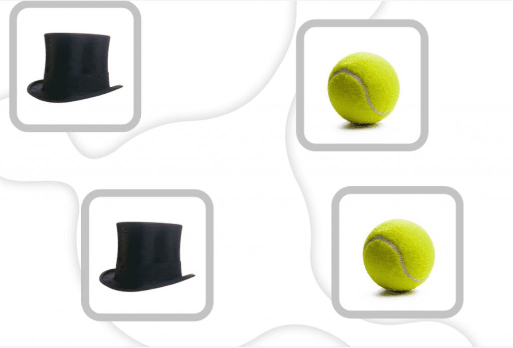 """Ejercicios memoria adultos para imprimir. Ficha de estimulación cognitiva de NeuronUP """"Unir figuras por parejas"""". Nivel básico."""