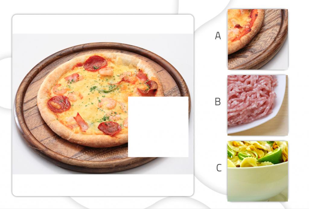 Fichas de estimulación cognitiva para trabajar las gnosias - pizza - Cognitive stimulation worksheets to improve gnosis