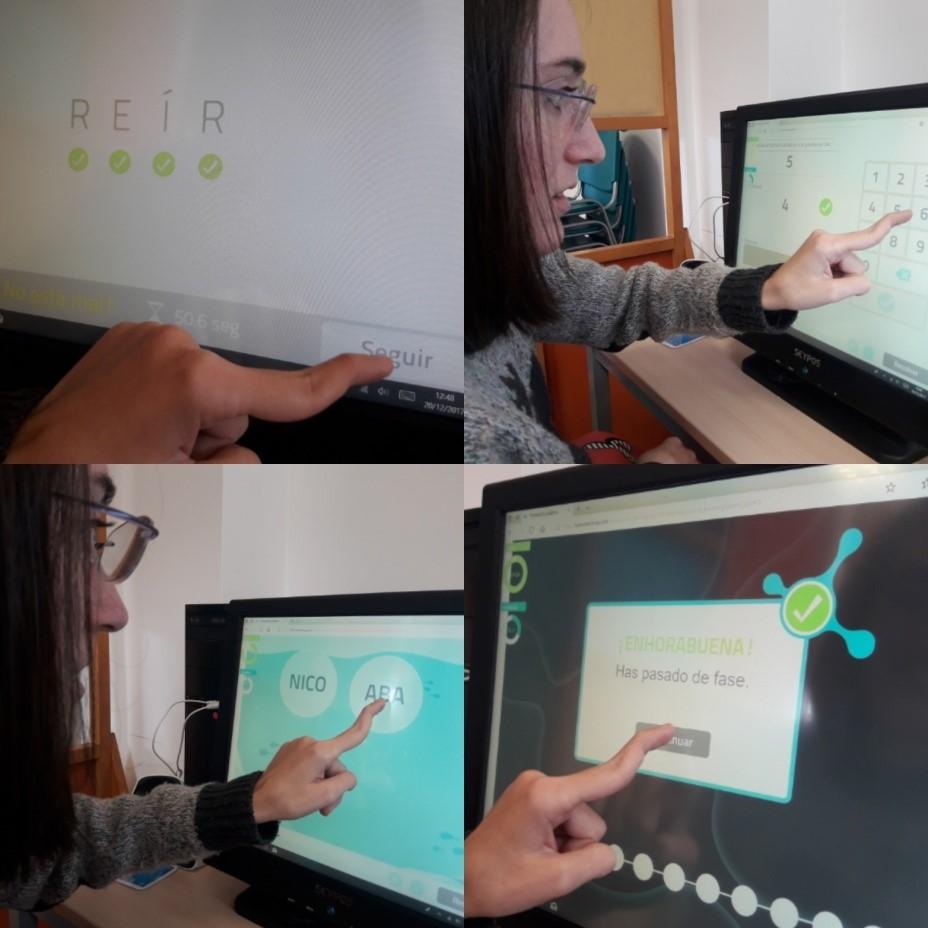 Una usuaria del Centro San Rafael utilizando NeuronUP