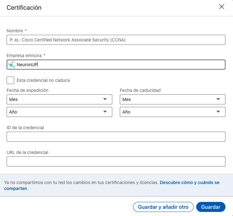 Añadir el certificado a LinkedIn