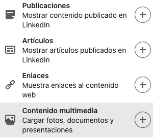 Añadir contenido a tu perfil