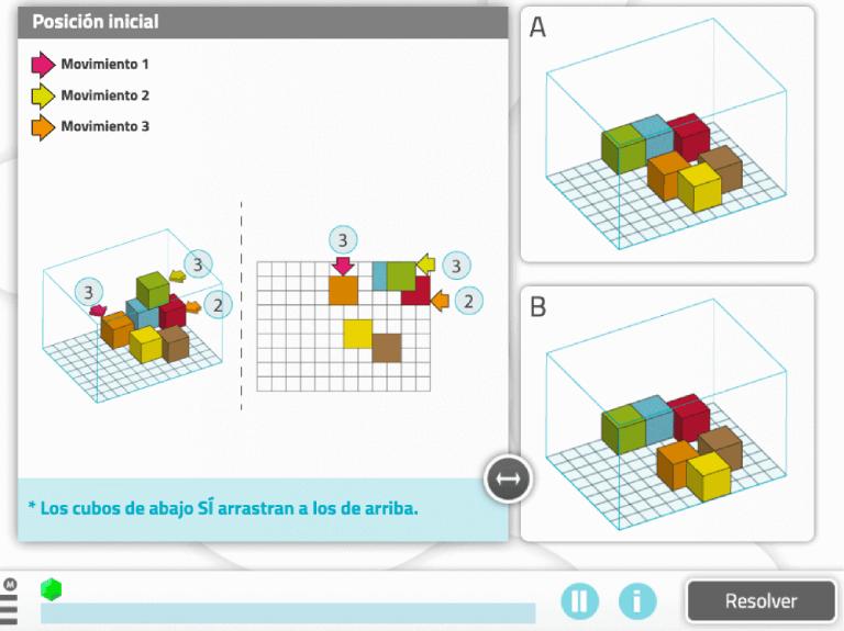 """Ejercicio de estimulación cognitiva """"Movimiento de cubos"""""""