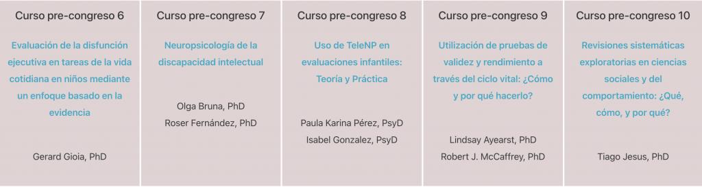 Cursos pre-congreso del IV Congreso Iberoamericano de Neuropsicología - 2