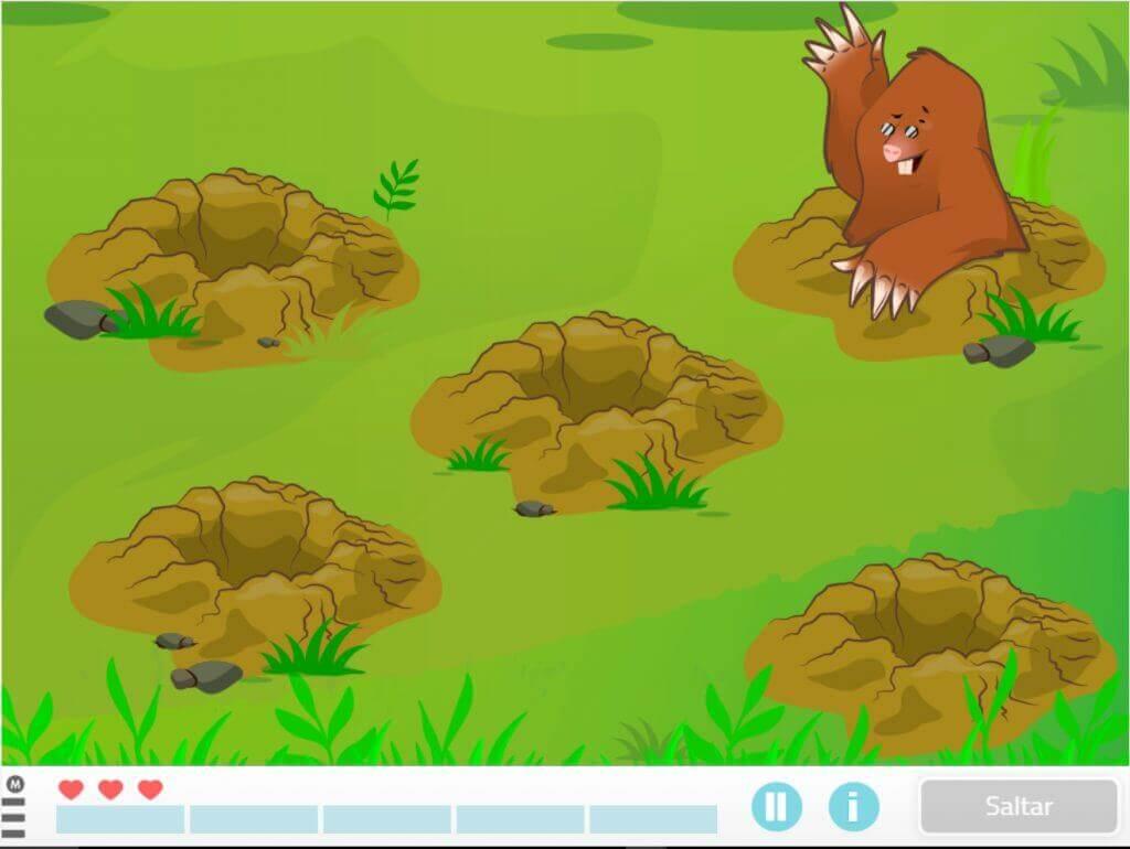 invasión de topos, juego para niños de memoria
